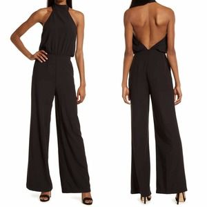 Lulus Moment For Life Jumpsuit Black Stretch Halter Sleeveless Zip Small New